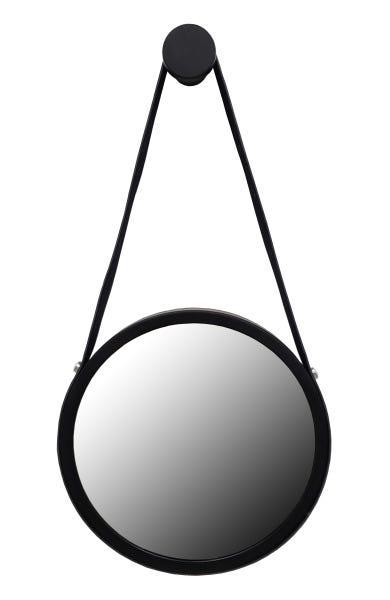 Espelho Redondo Adnet  Preto Com Alça De Couro Preto