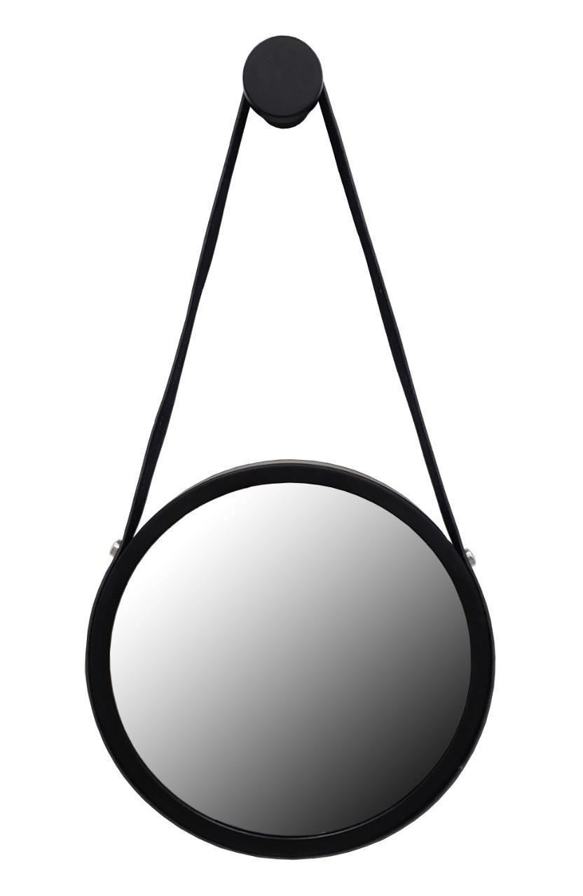 Espelho Redondo Adnet  Preto Com Alça Preto 50cm