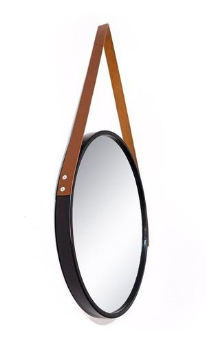Espelho Redondo Decorativo adnet preto com alça marrom 50 Cm