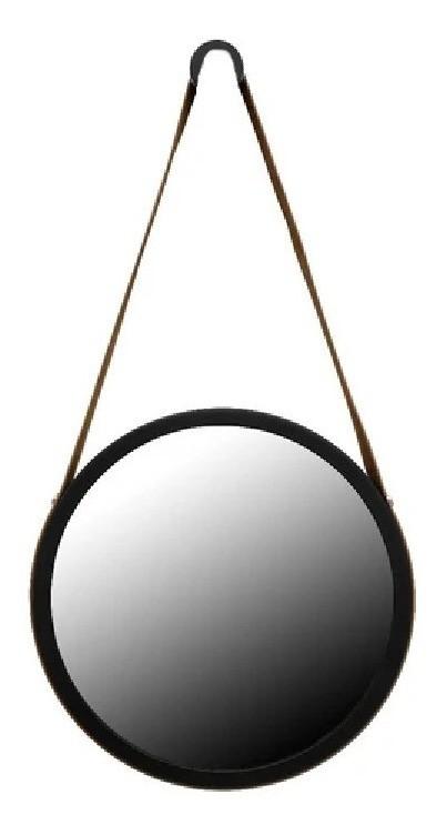 Espelho Redondo Decorativo adnet Preto com alça preta 50 Cm