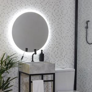 Espelho redondo iluminado com LED frio 50cm