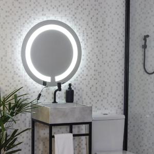Espelho redondo jateado iluminado com led frio frontal 50cm