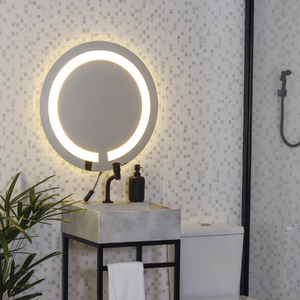 Espelho redondo jateado iluminado com led neutro frontal 50cm