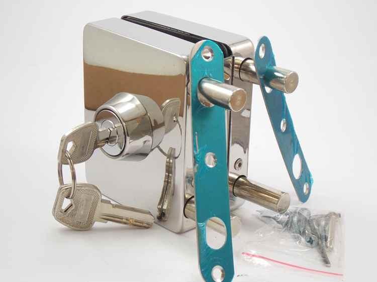 Fechadura quadrada de pressão em inox para porta vidro blindex - vidro/alvenaria