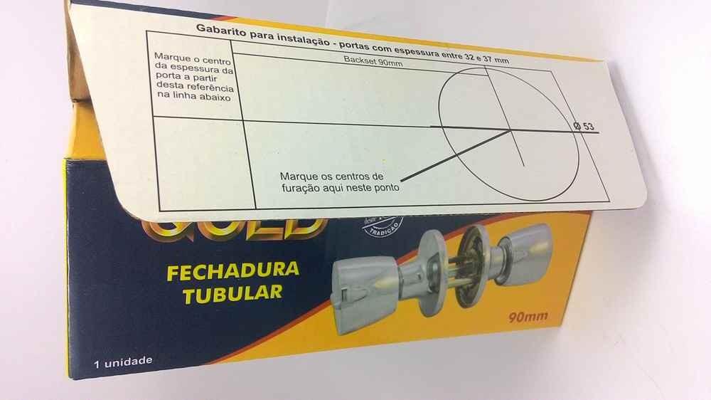 Fechadura para porta divisória tubular Gold - Preta