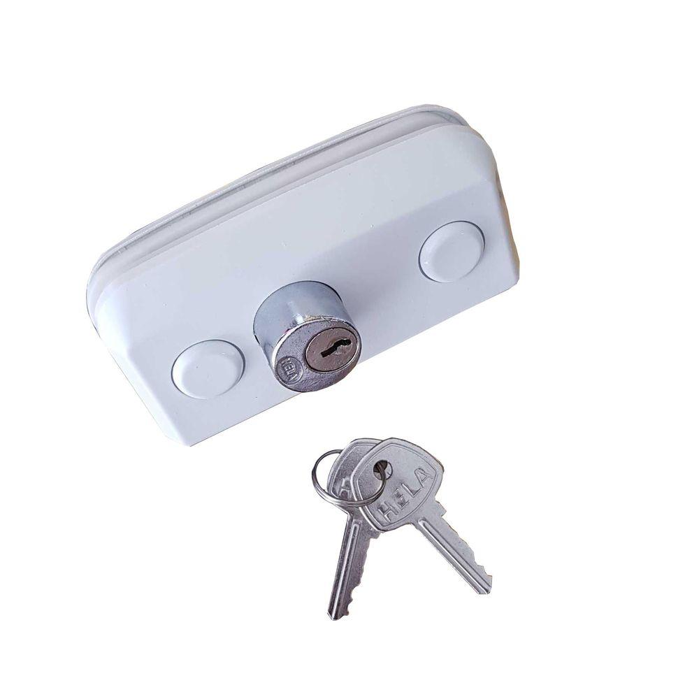 Fechadura Para Porta De Vidro De Abrir Pivotante 1520 branca