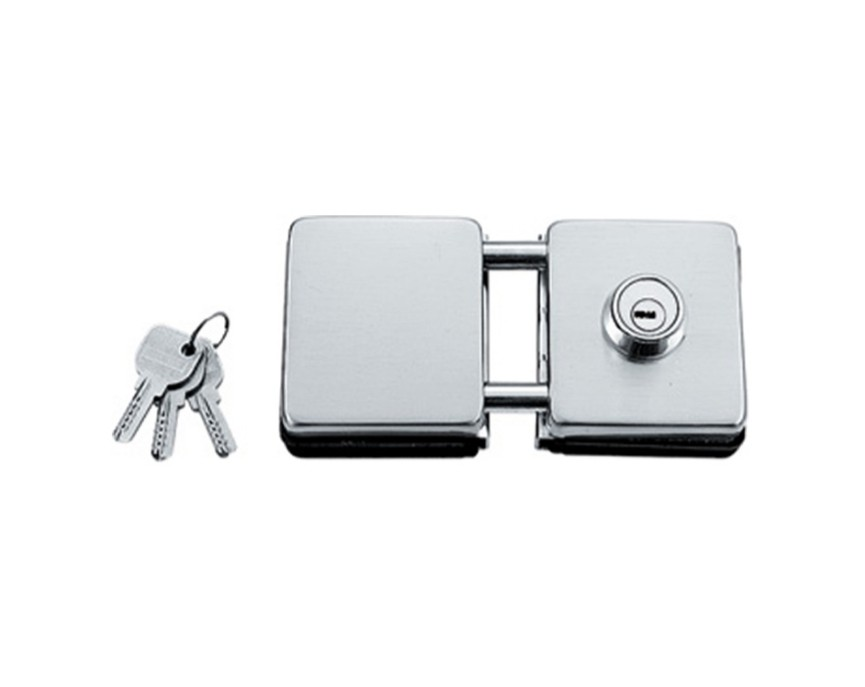Fechadura quadrada de pressão em inox para porta vidro blindex - vidro/vidro