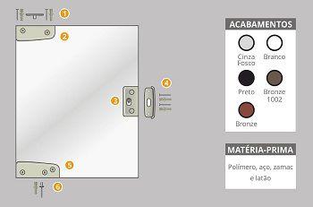 Kit 9 polímero para instalação de fechadura porta de correr blindex v/v branco