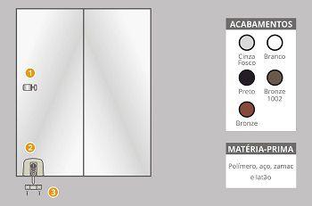 Kit 4 polímero para instalação de janelas de correr 2 folhas branco