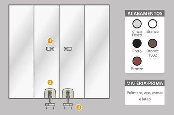 Kit 3 polímero para instalação de janelas de correr 4 folhas branco