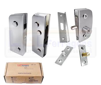 Kit 1 metal para instalação de portas pivotantes de bater cromado