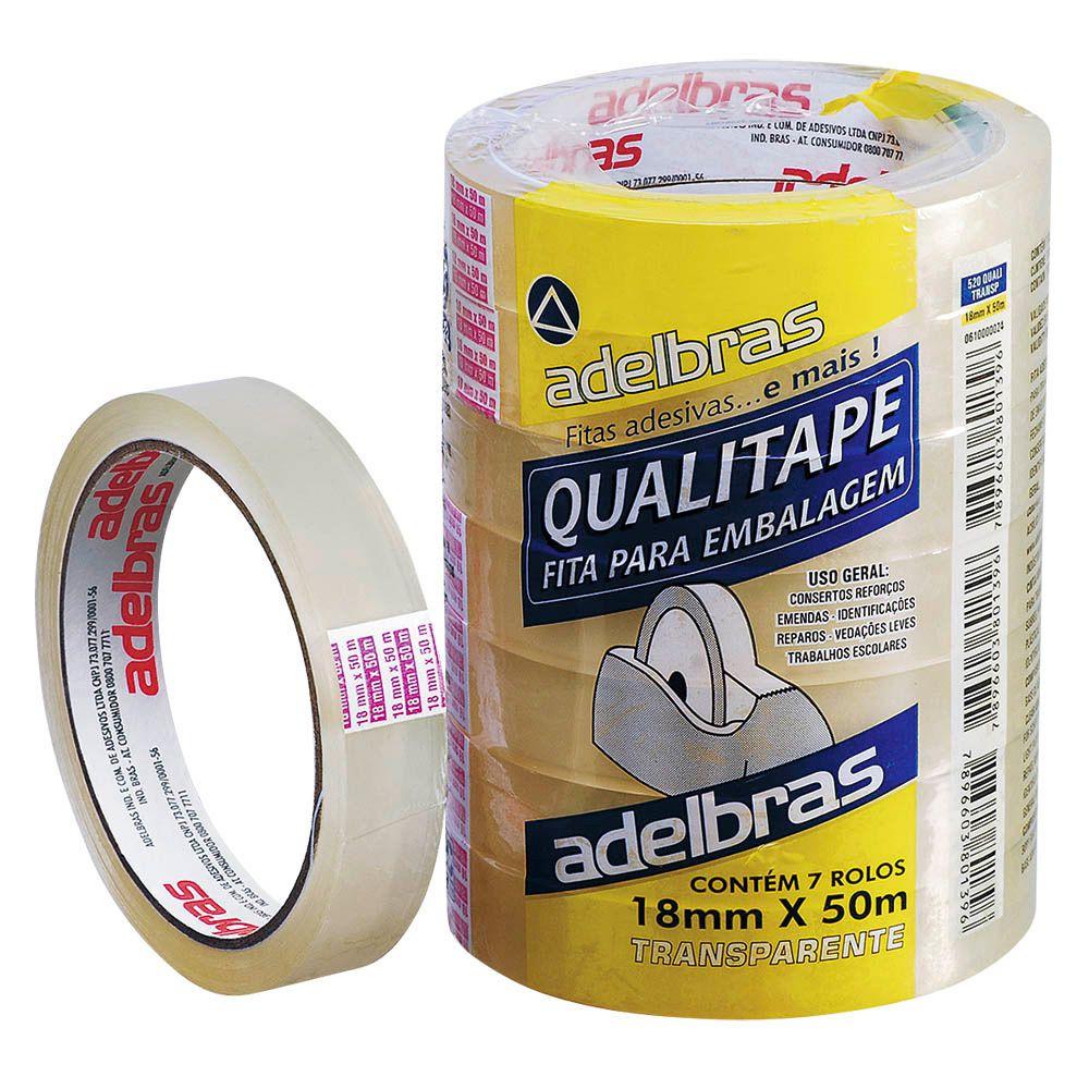 Fita adesiva para embalagem transparente Qualitape Aldebras 18mmx50m 7 rolos