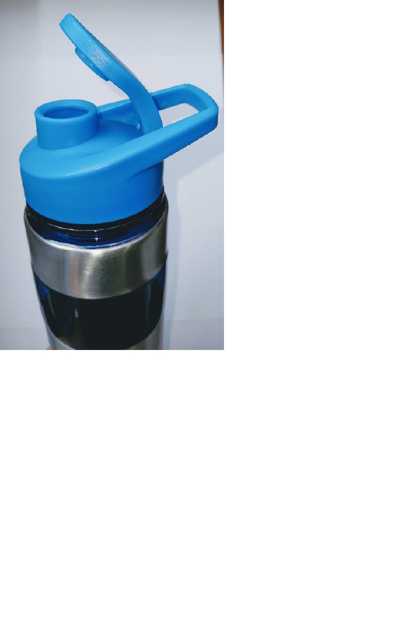 Garrafa squeeze inox fitness academia cromado azul