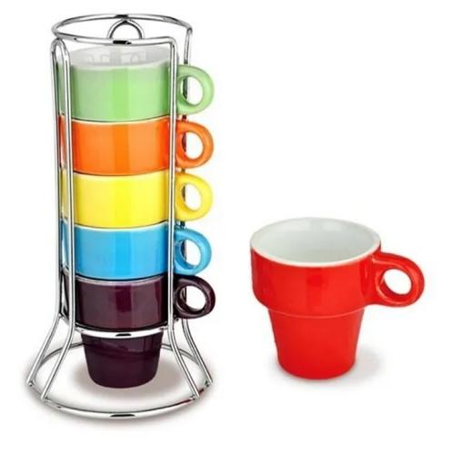 Jogo de 6 xícaras de café 50ml coloridas com suporte