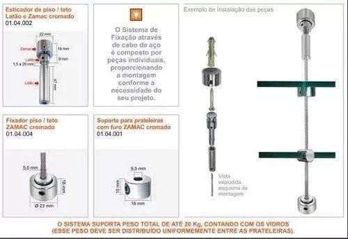 Kit 1 Esticador Fixador Flange 3m Cabo Prateleira Suspensa