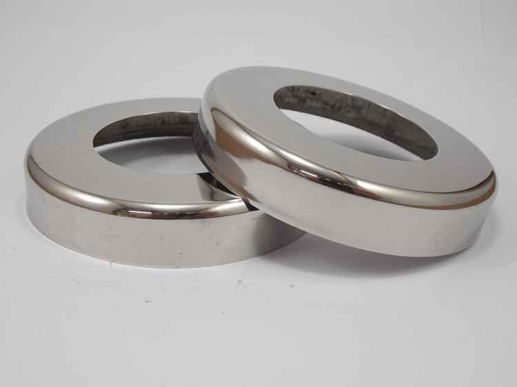 Canopla cromada redonda em aço inox polido 2 polegadas - 2un