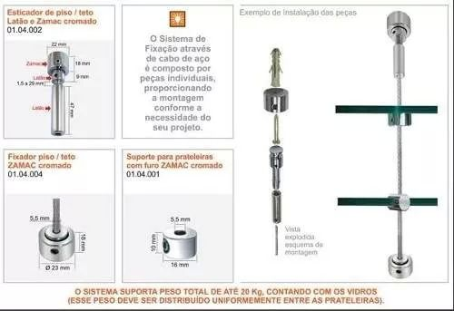 KIT - 4 Esticador / 4 fixador / 4 flange / 5m cabo aço para prateleira suspensa