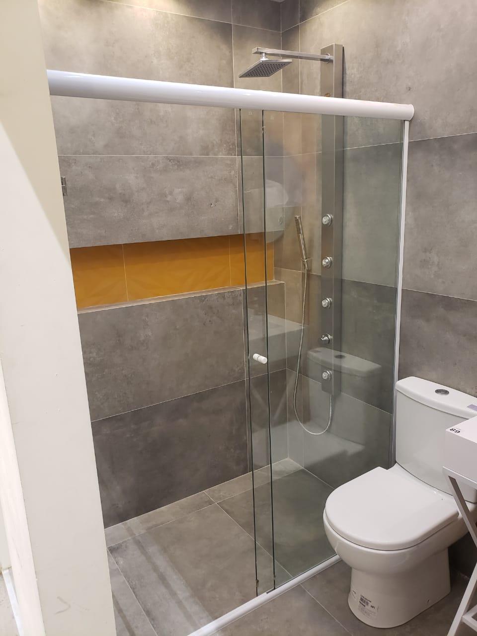 Kit Box De Vidro Temperado Frontal 100cm Largura Sem Vidro branco
