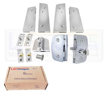 Kit 8 metal para instalação de porta pivotante dupla cromado