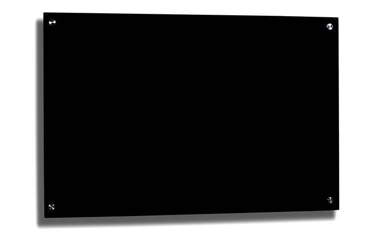 Lousa Quadro de aviso De Vidro Temperado preta 90x60cm 6mm