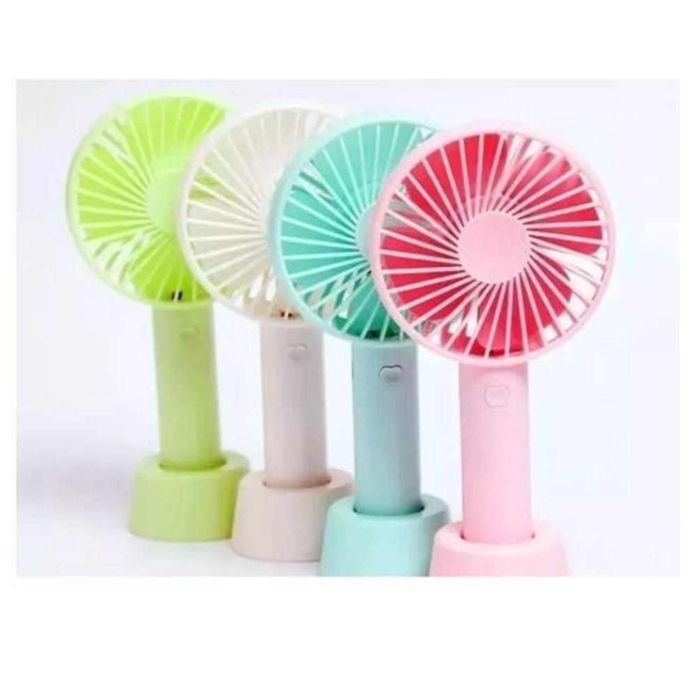 Mini ventilador portátil recarregável 3 velocidades para maquiagem - verde