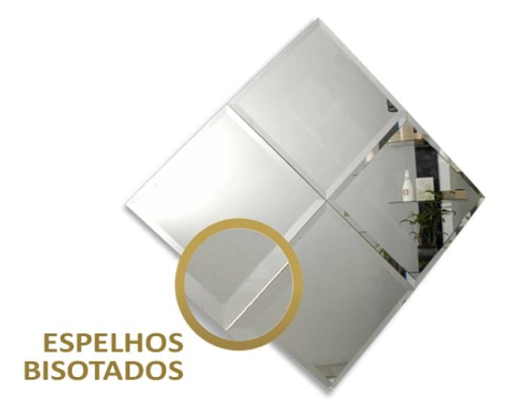 Painel de espelho auto adesivo dupla face com bisote - 30x30cm 4 unidades