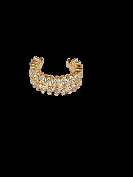 Piercing de Pressão folheado banho de ouro 18k Cravejado
