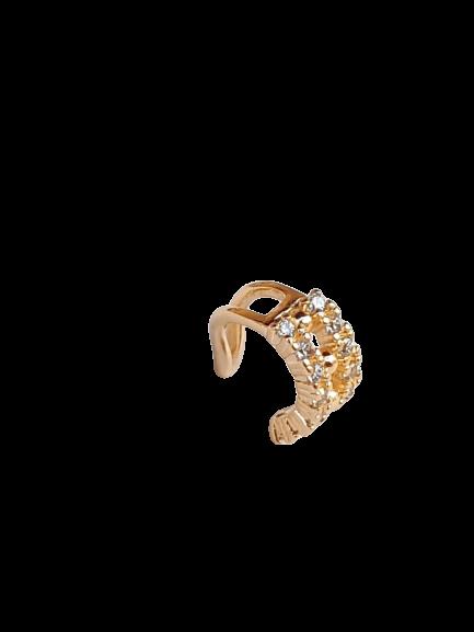 Piercing de Pressão folheado banho de ouro 18k Cravejado vazado