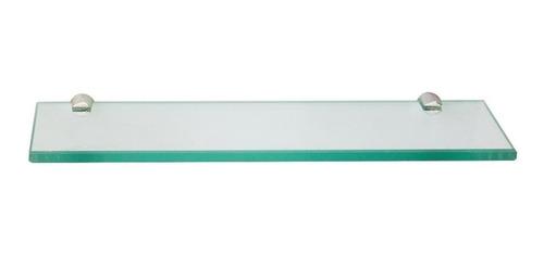 Prateleira 10x40cm De Vidro esverdeado Com Botão Metal