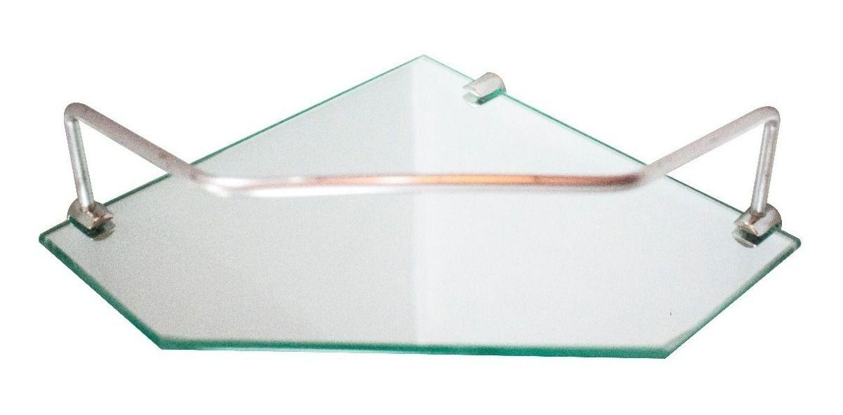 Prateleira vidro incolor de canto para banheiro com suporte