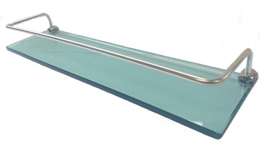 Prateleira vidro verde para banheiro com suporte