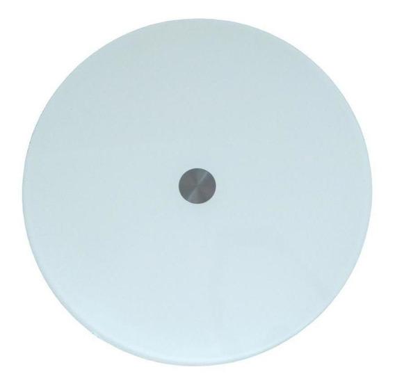 Prato giratório centro de mesa em vidro branco e inox 60cm