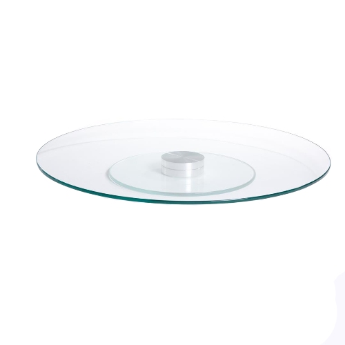 Prato giratório centro de mesa em vidro branco e inox 70cm