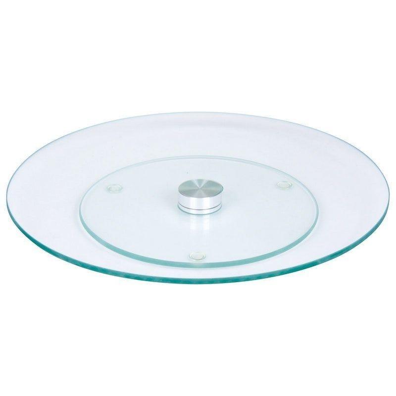 Prato giratório centro de mesa em vidro incolor e inox 50cm