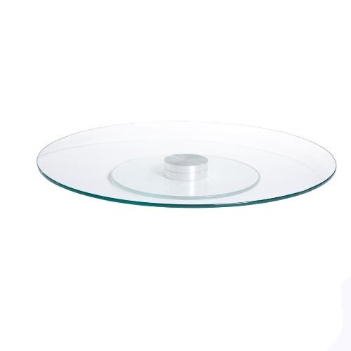 Prato giratório centro de mesa em vidro incolor e inox 80cm
