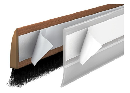 Protetor Veda Porta Adesivo Escova 100cm Madeira Escura