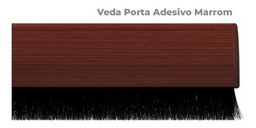 Protetor Veda Porta Adesivo Escova 80cm Madeira Escura