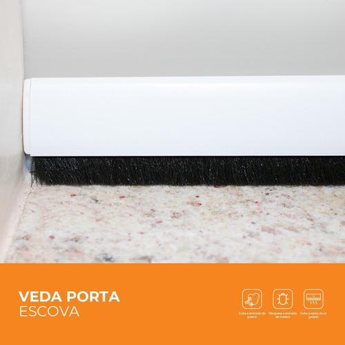 Protetor Veda Porta Adesivo Escova 80cm Preto