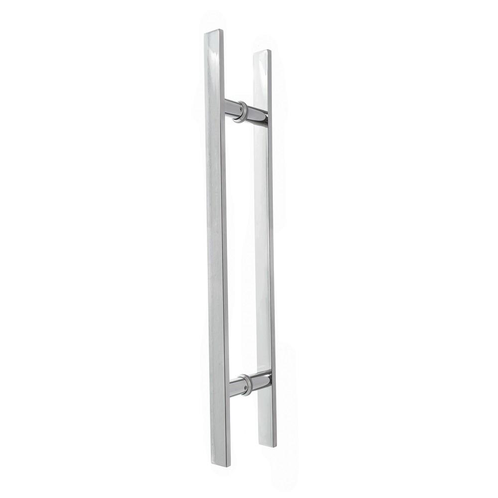 Puxador inox para porta madeira e vidro reto barra chata 30x45cm H06