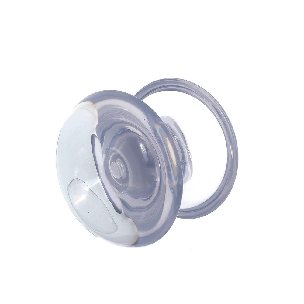 Puxador duplo redondo de resina para porta de vidro incolor grande