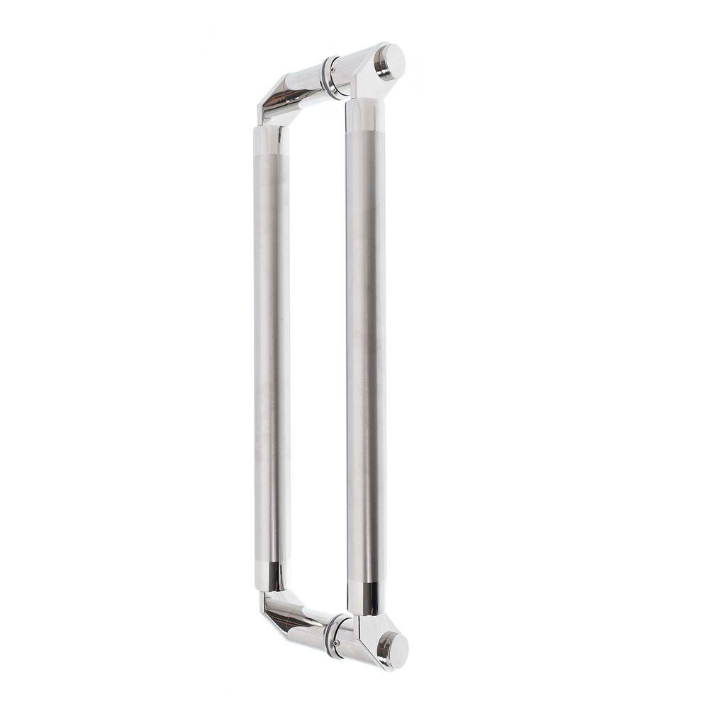 Puxador inox para porta madeira e vidro tubular modelado 1,80m H01