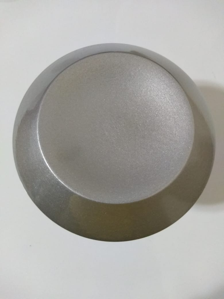 Puxador duplo redondo de madeira para porta de vidro prata