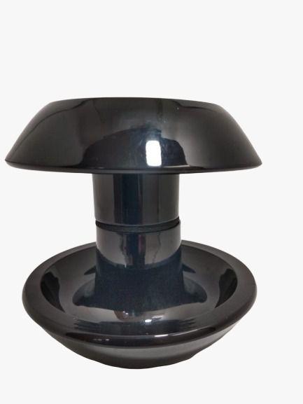 Puxador duplo redondo de resina para porta de vidro preto grande