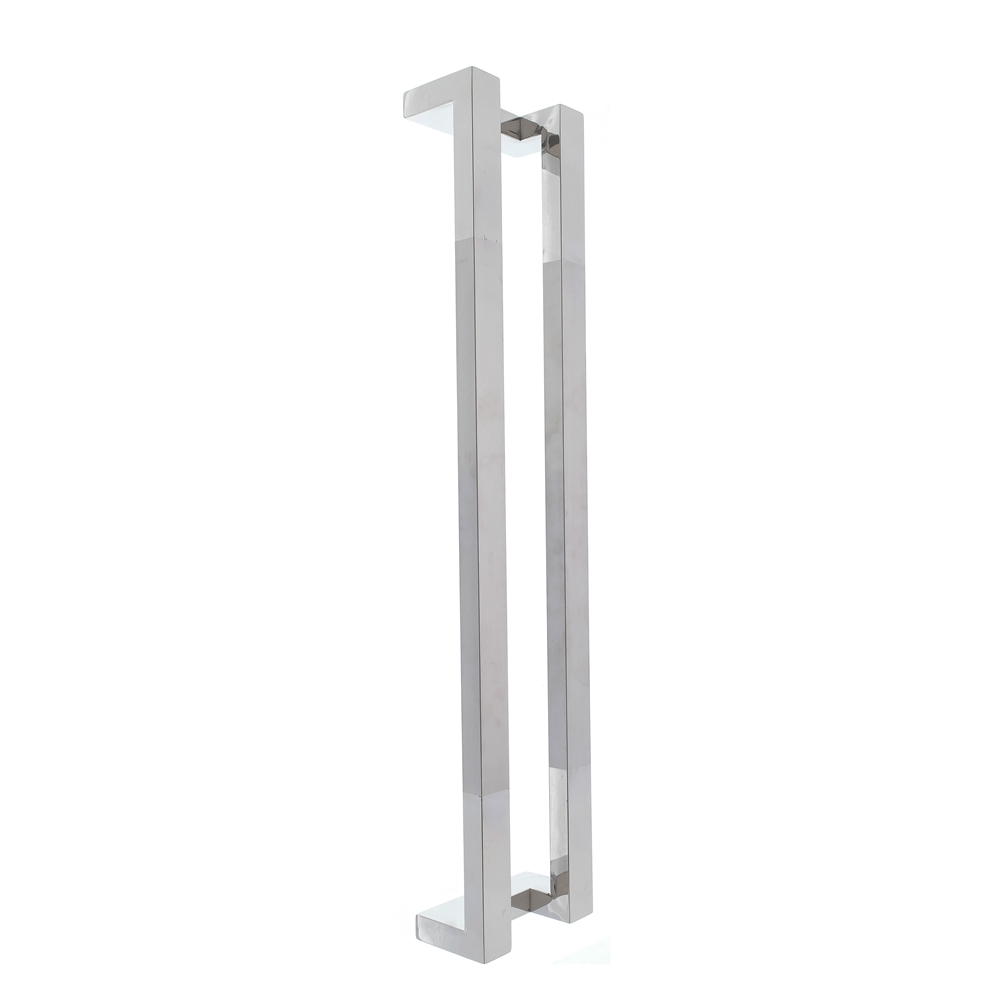 Puxador inox para porta madeira e vidro retangular em L 1,20m H13