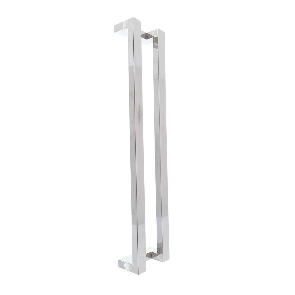 Puxador inox para porta madeira e vidro retangular em L 80cm H13
