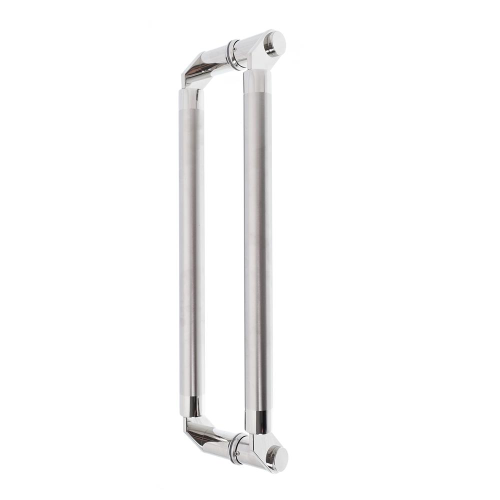 Puxador inox para porta madeira e vidro tubular modelado 60cm H01