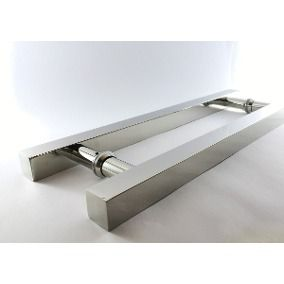 Puxador inox para porta madeira e vidro quadrado 1x1,20m H05