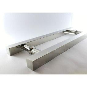 Puxador inox para porta madeira e vidro quadrado 40x60cm H05