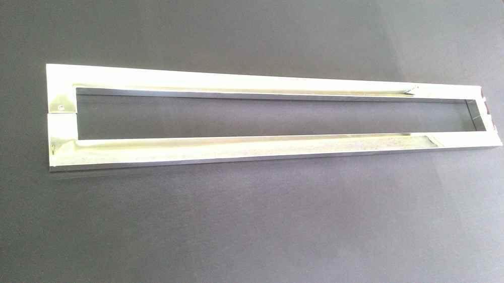 Puxador inox para porta madeira e vidro retangular U barra chata 1,20m H07