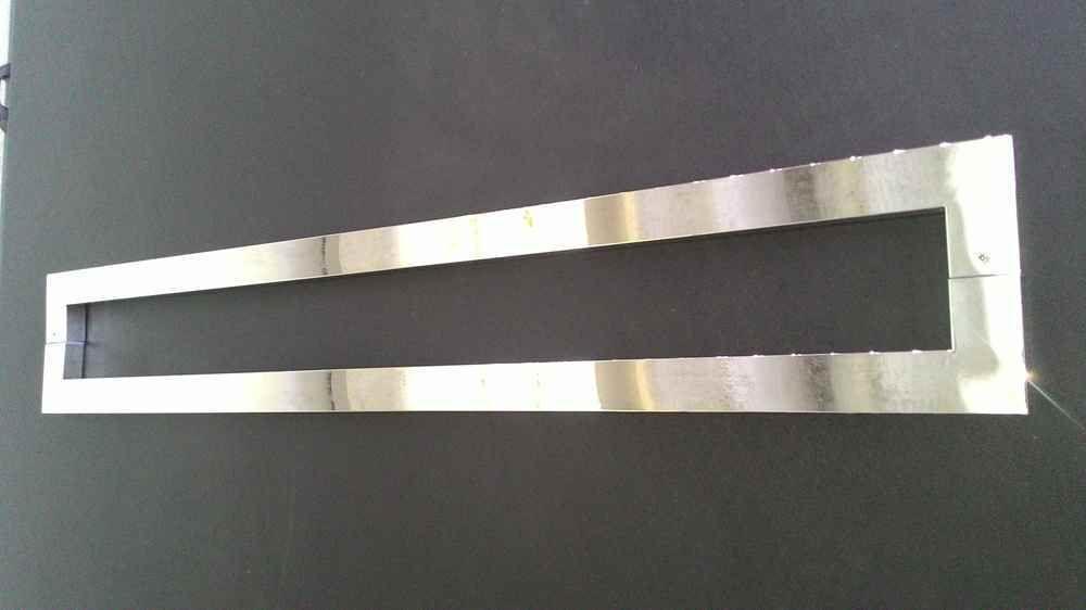 Puxador inox para porta madeira e vidro retangular U barra chata 40cm H07